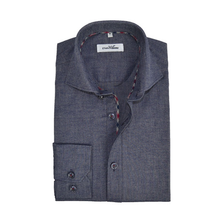 Stretch Cotton Semi Fitted Check Accent Shirt // Navy (S)