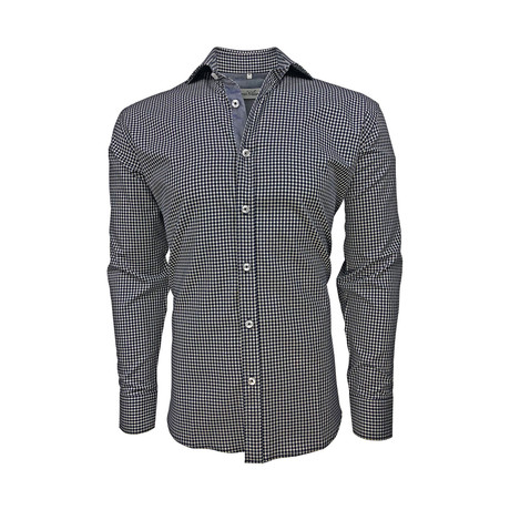 Semi Fitted Chambray Accent Shirt // Navy Check (S)