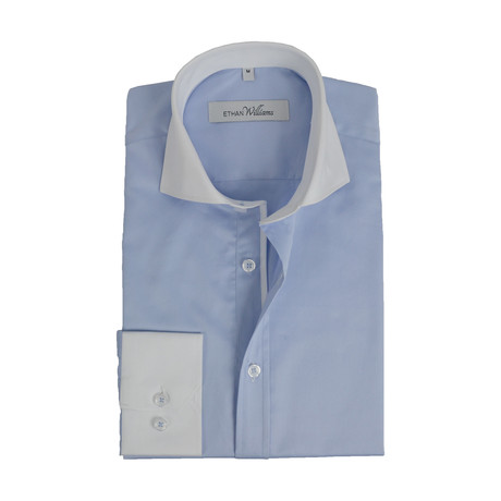Semi Fitted Contrast Trim Shirt // Light Blue + White (S)