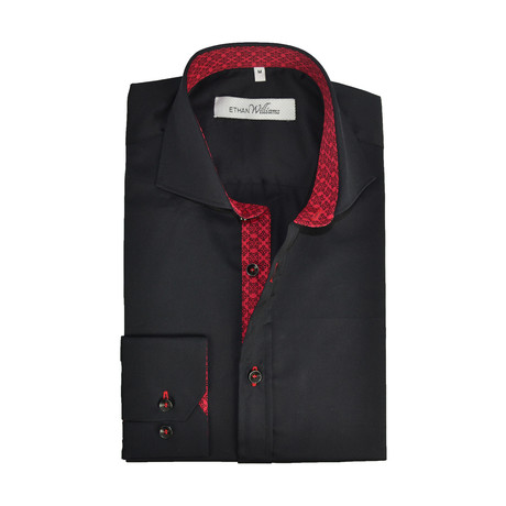 Semi Fitted Ornate Accent Shirt // Black + Red (S)