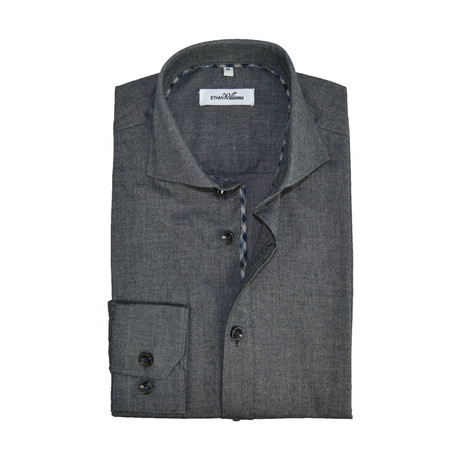 Stretch Cotton Semi Fitted Check Accent Shirt // Black