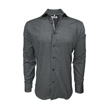 Stretch Cotton Semi Fitted Check Accent Shirt // Black (S)