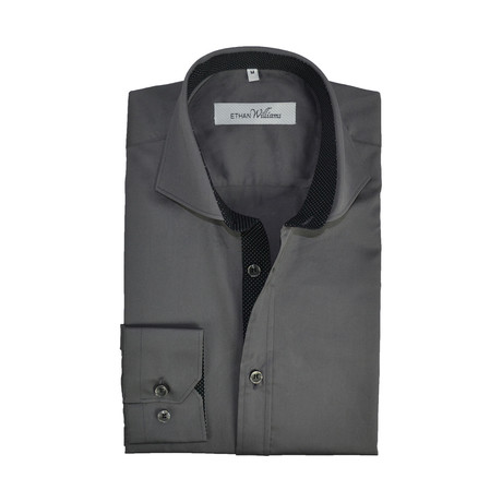 Semi Fitted Dot Accent Shirt // Heavy Metal + Black (S)