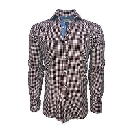 Semi Fitted Chambray Accent Shirt // Dark Red Check (S)