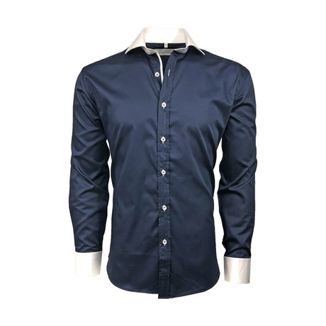 Semi Fitted Contrast Trim Shirt // Navy + White (S)