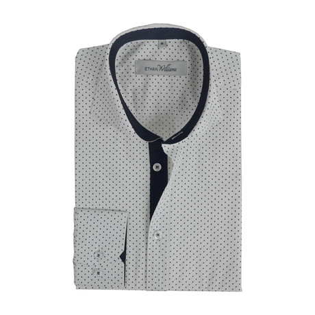 Semi Fitted Dot Shirt // White + Navy Dots (S)