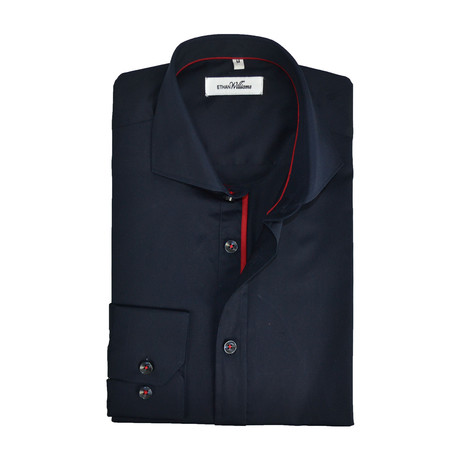 Semi Fitted Shirt // Navy + Red (S)