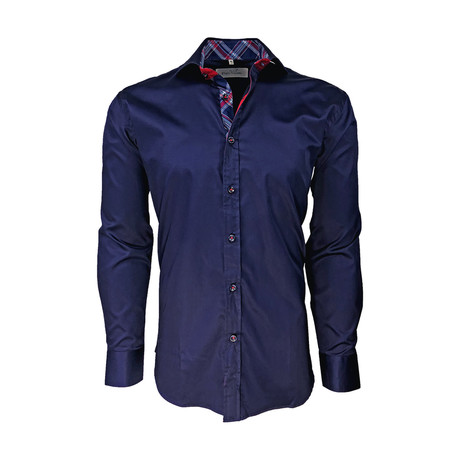 Semi Fitted Check Accent Shirt // Navy (S)