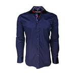 Semi Fitted Check Accent Shirt // Navy (XL)