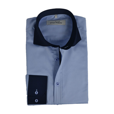 Semi Fitted Contrast Trim Shirt // Light Blue + Navy (S)