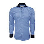 Semi Fitted Contrast Trim Shirt // Light Blue + Navy (XL)