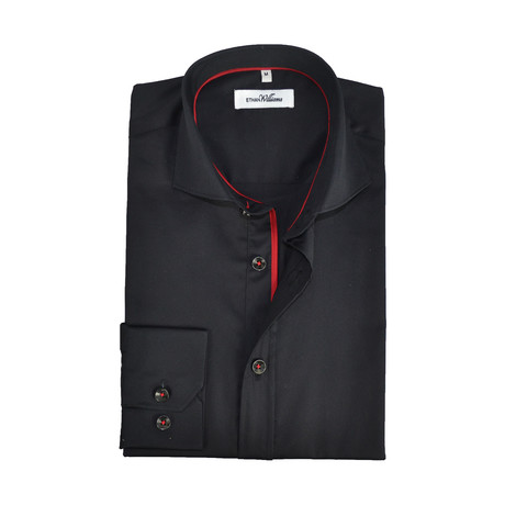 Semi Fitted Shirt // Black + Red (S)