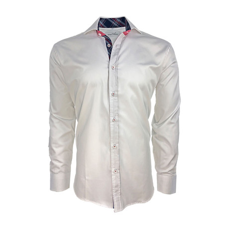 Semi Fitted Check Accent Shirt // White (S)