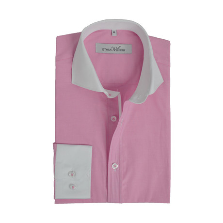 Semi Fitted Contrast Trim Shirt // Pink + White (S)