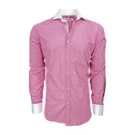Semi Fitted Contrast Trim Shirt // Pink + White (L)
