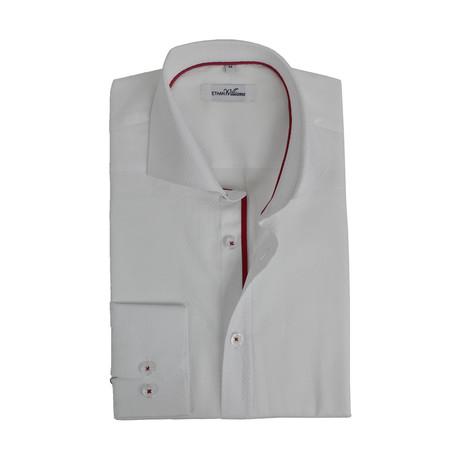 Diamond Jacquard Cotton Semi Fitted Shirt // White + Red (S)