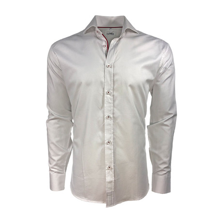 Diamond Jacquard Cotton Semi Fitted Shirt // White + Red (S)