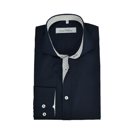 Semi Fitted Dot Shirt // Navy (S)