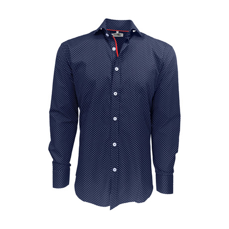 Semi Fitted Dot Print Shirt // Navy Dots + Red (S)