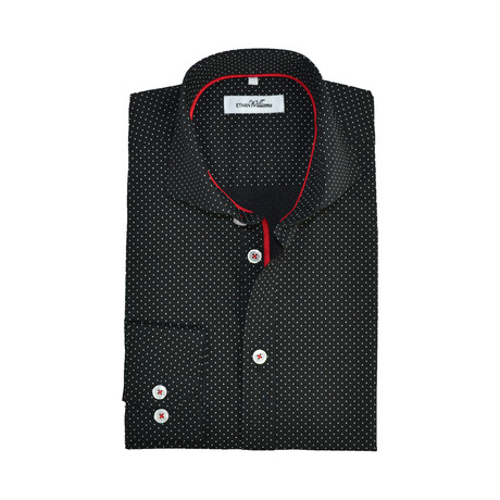Semi Fitted Dot Print Shirt // Black Dots + Red (S)