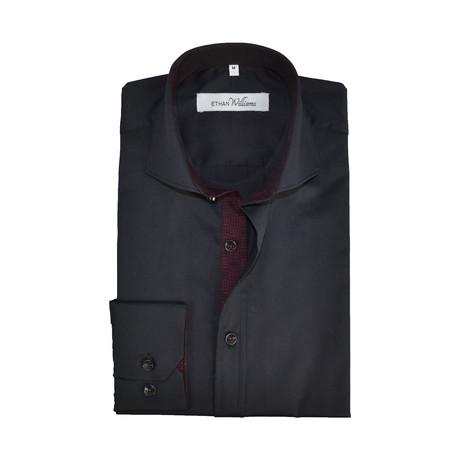 Semi Fitted Printed Shirt // Black + Burgundy (S)