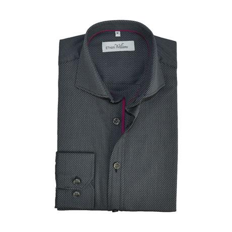 Iridescent Semi Fitted Shirt // Graphite Black + Burgundy (S)