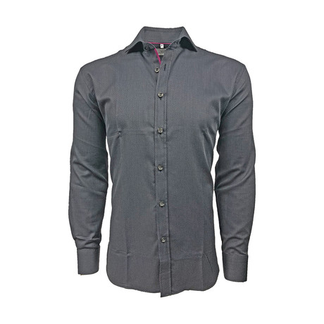 Iridescent Semi Fitted Shirt // Graphite Black + Burgundy (S)