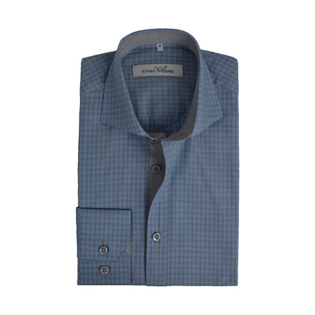 Semi Fitted Check Shirt // Sky Blue + Grey (S)