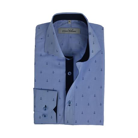 Semi Fitted Anchor Print Shirt // Light Blue Anchor (S)