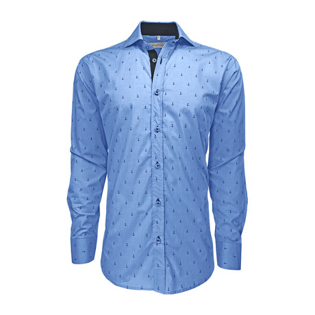 Semi Fitted Anchor Print Shirt // Light Blue Anchor (S)