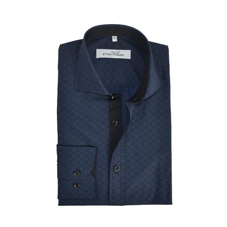 Semi Fitted Ornate Print Shirt // Indigo + Black (S)