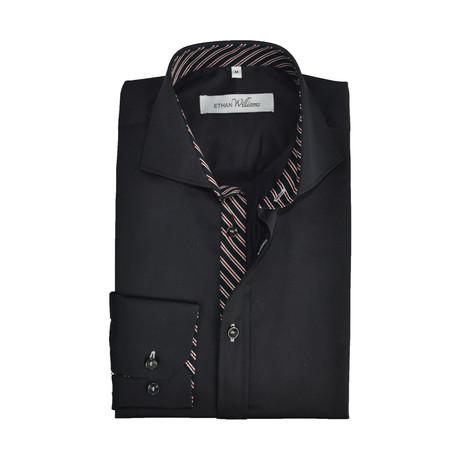 Semi Fitted Stripe Accent Shirt // Black + Burgundy (S)