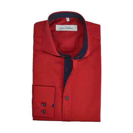 Semi Fitted Dot Accent Shirt // Red + Navy (S)