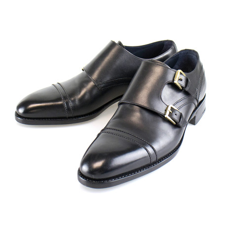 Good Year Welt Leather Monk Strap // Black (US: 7)