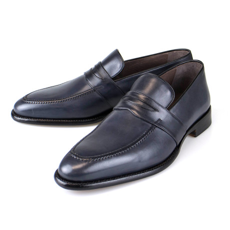 Goodyear Blue Leather Penny Loafers  // Navy Blue (US: 7)