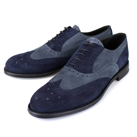 Suede Leather Wingtip Oxford // Blue (US: 7)