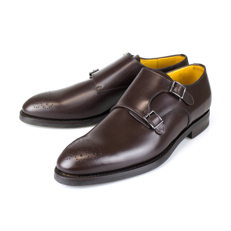 Leather Double Monk Strap // Brown (US: 7)