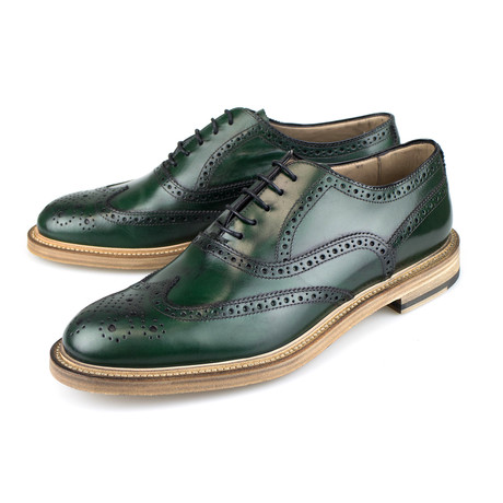 Leather Wingtip Oxford // Green (US: 7)