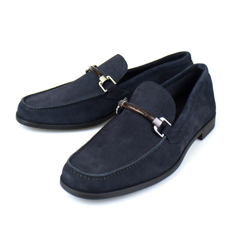 Suede Leather Loafers // Blue (US: 7)