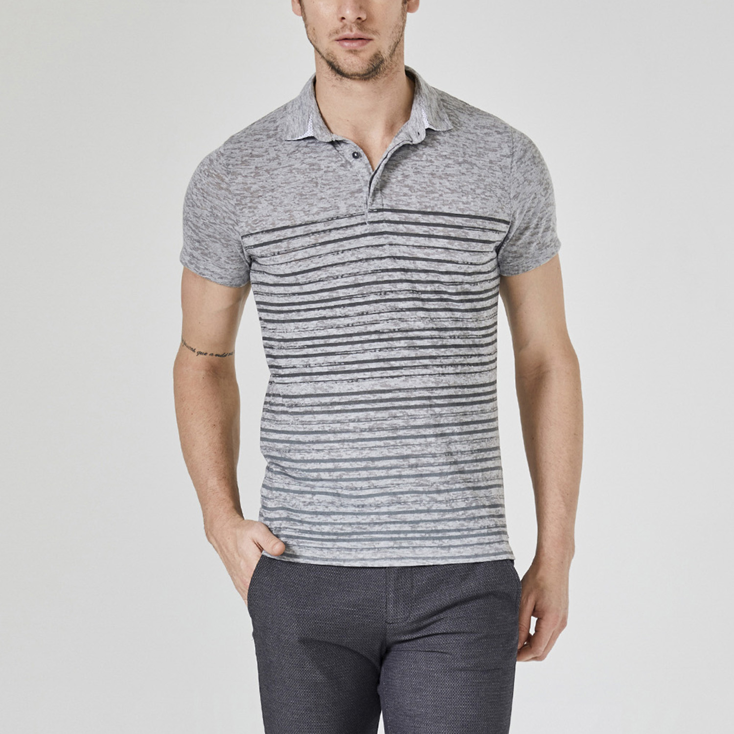 Printed Polo T Shirt Grey Melange Xs Xint Touch Of Modern