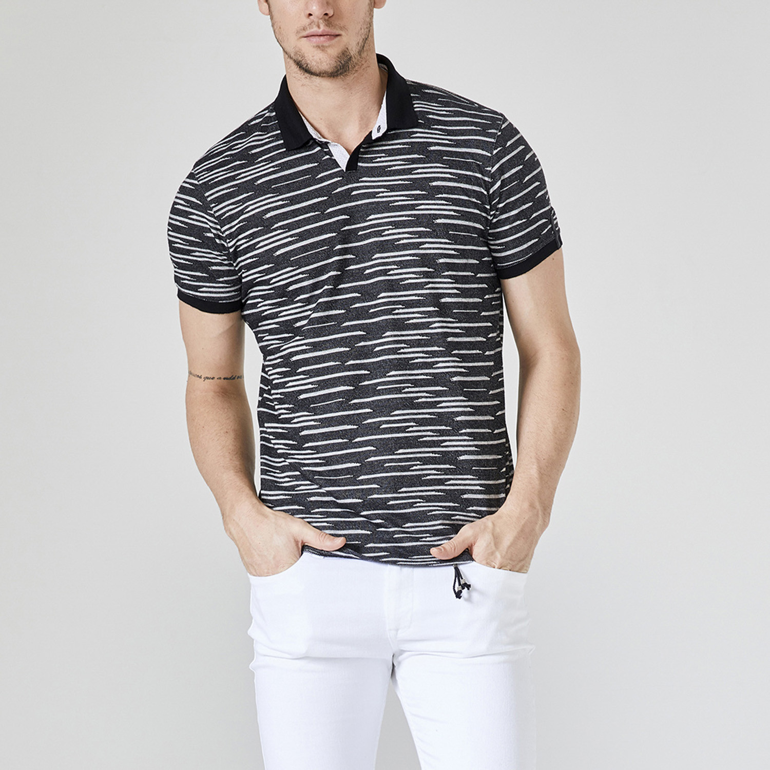 Printed Polo T Shirt Black Xs Xint Touch Of Modern