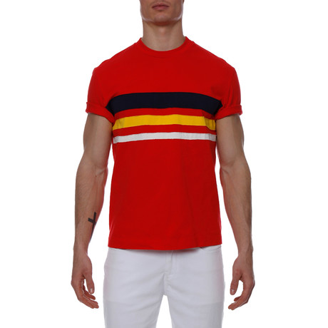 Striped Jersey Crewneck Tee // Red (XS)