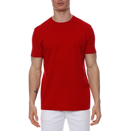 Solid Knit Crewneck Tee // Red (XS)