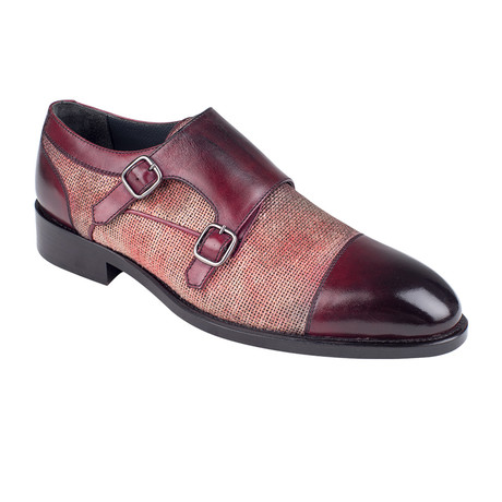 Mixed Texture Double Monkstrap Shoe // Burgundy Antique (Euro: 39)
