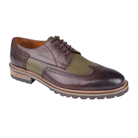 Perforated Color Block Derby // Brown Antique