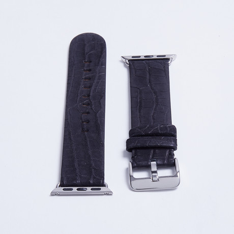 Genuine Alligator Fits Apple Watchstrap // Black Nubuck