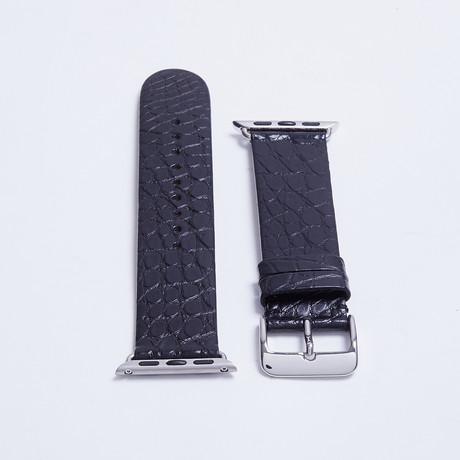 Alligator Apple Watch Strap // Matte Black (White Hardware // 38mm Case Dia.)