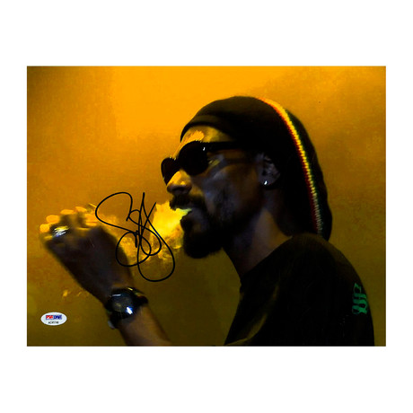 Snoop Dogg Signed Blowing Smoke Photo