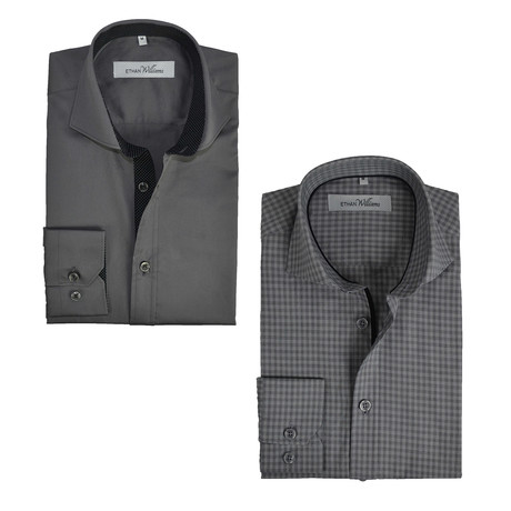 Semi Fitted Button Down Shirt // Grey Check + Heavy Metal // 2-Pack (S)