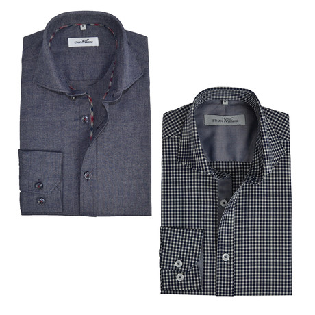 Semi Fitted Button Down Shirt // Navy Check + Navy // 2-Pack (S)